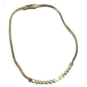 Swarovski stones snake chain necklace